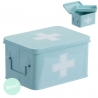 Botiquin metal azul auxilios con compartimento en interior .