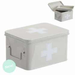 Botiquin metal auxilios beige con compartimento en interior .
