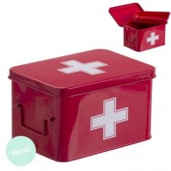 Botiquin metal auxilios rojo con compartimento en interior .
