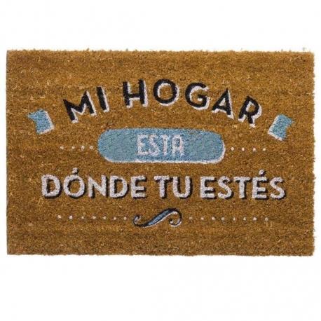 """Felpudo original de fibra de coco y base de goma """"DONDE TU ESTÉS"""" 40x60cm"""