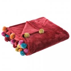 Manta de sofá infantil roja de poliéster para salón Iris