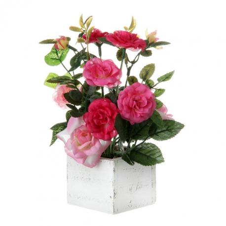 Planta rosa poliester 7 x 7 x 20 cm en maceta de madera.