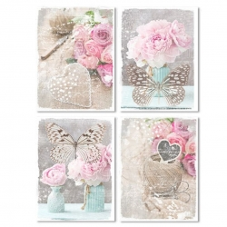 "Pack de 4 lienzo romantic decorativo ""Flower & Mariposa"" 30X40 4m"