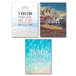 Pack de 3 lienzo original con frases decorativo 30X40 .