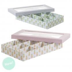 """Caja con ventana 9 departamentos diseño infantil """"Cactus o piñas"""""""