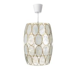 Lámpara de techo vintage en nacar crema oro para salón.