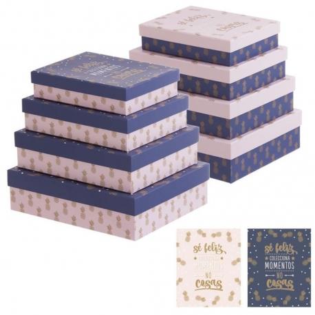 """Juego 4 cajas regalo diseño piñas con frase """"SER FELIZ"""""""