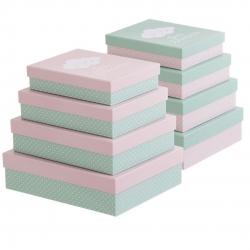 "Juego 4 cajas regalo diseño color infantil ""NUBES"""
