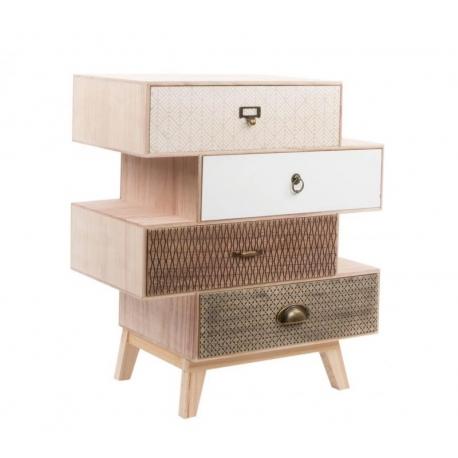 Cajonera 4 cajones scandi madera natura dise o moderno - Muebles comodas y cajoneras ...
