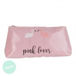 Neceser flamencos color rosa con cremallera .