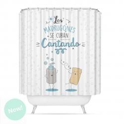 "Cortina de baño original poliester diseño mensaje ""CANTANDO"""