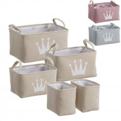 Juego de 5 cestas ordenacion corona color .