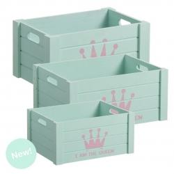 """Juego 3 cajas multiusos original """"CORONA"""" color mint ."""