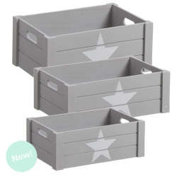 """Juego 3 cajas multiusos original """"ESTRELLA"""" gris ."""
