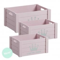 """Juego 3 cajas multiusos original """"CORONA"""" color rosa ."""