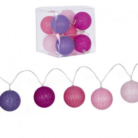 Guirnalda 10 bolas led rosas .