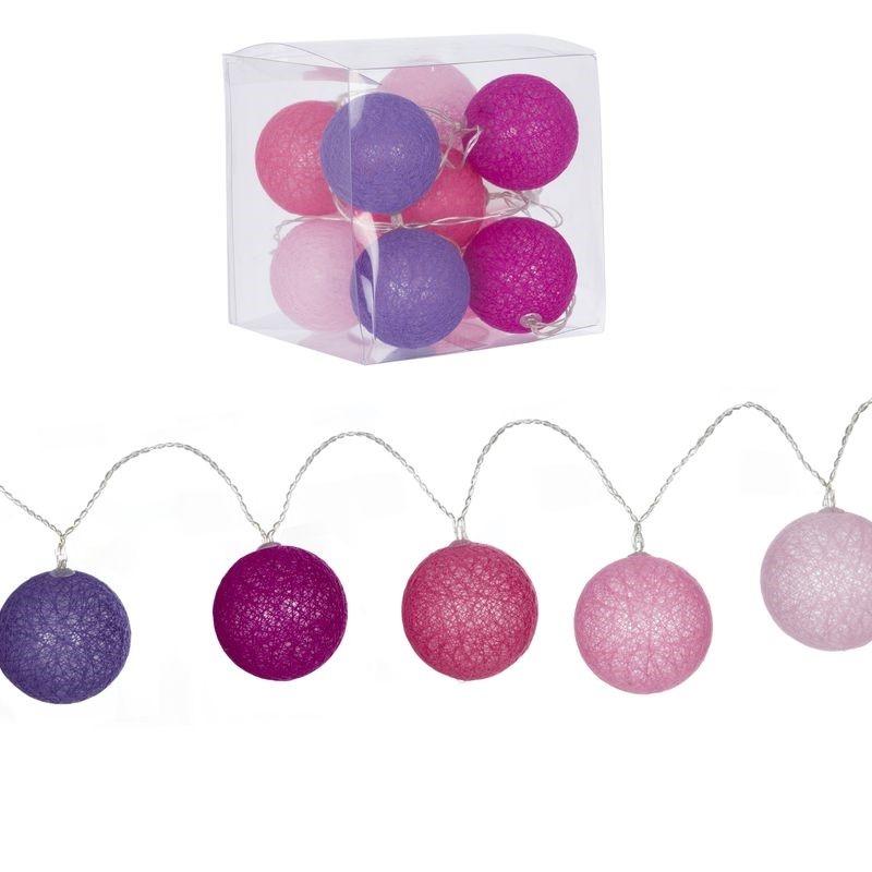 Guirnalda 10 bolas led rosas for Guirnalda de luces bolas
