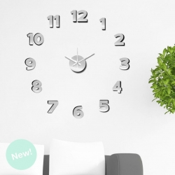 Reloj Adhesivos de pared aluminio plata acolchado 60x60cm