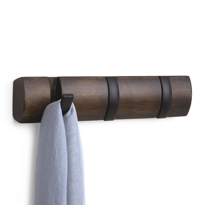 Perchero de pared color negro nogal 3 ganchos plegable for Ganchos de perchero