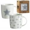 Tazas original diseño estrellas gris (Set de 2 mug )