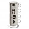 Juego 4 tazas diseño original ceramica. capacidad: 150cc. con soporte metálico.