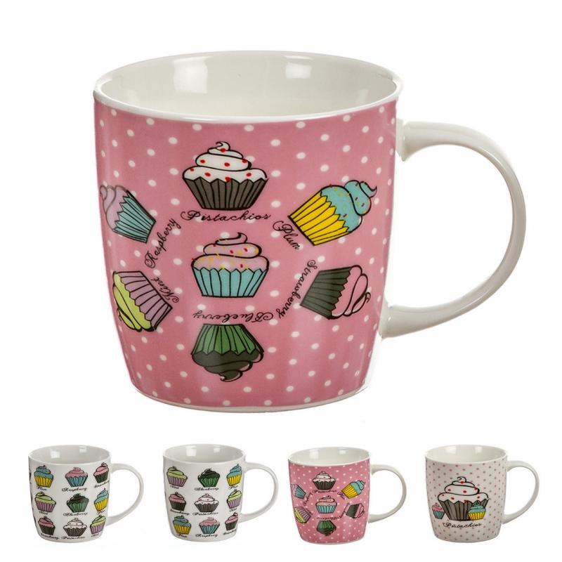 Tazas Cupcakes Ceramica Home Made 4 Colores Set De 4