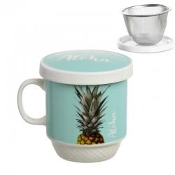 Taza con filtro original piña aloha azul .