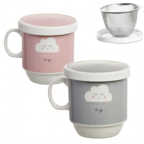 Taza con filtro infantil nubes rosa y gris ( Pack 2 tisana )