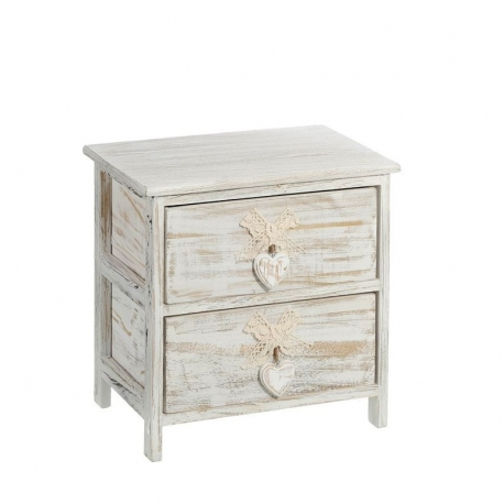 Cajonera de 2 cajones provenzal beige de madera para dormitorio vitta - Cajonera para dormitorio ...