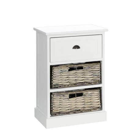 Mueble auxiliar 3 cajones blanco-natural 40 x 29 x 58 cm| Dcasa.es
