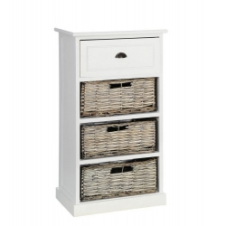 Mueble auxiliar 4 cajones blanco-natural 40 x 29 x 73 cm .