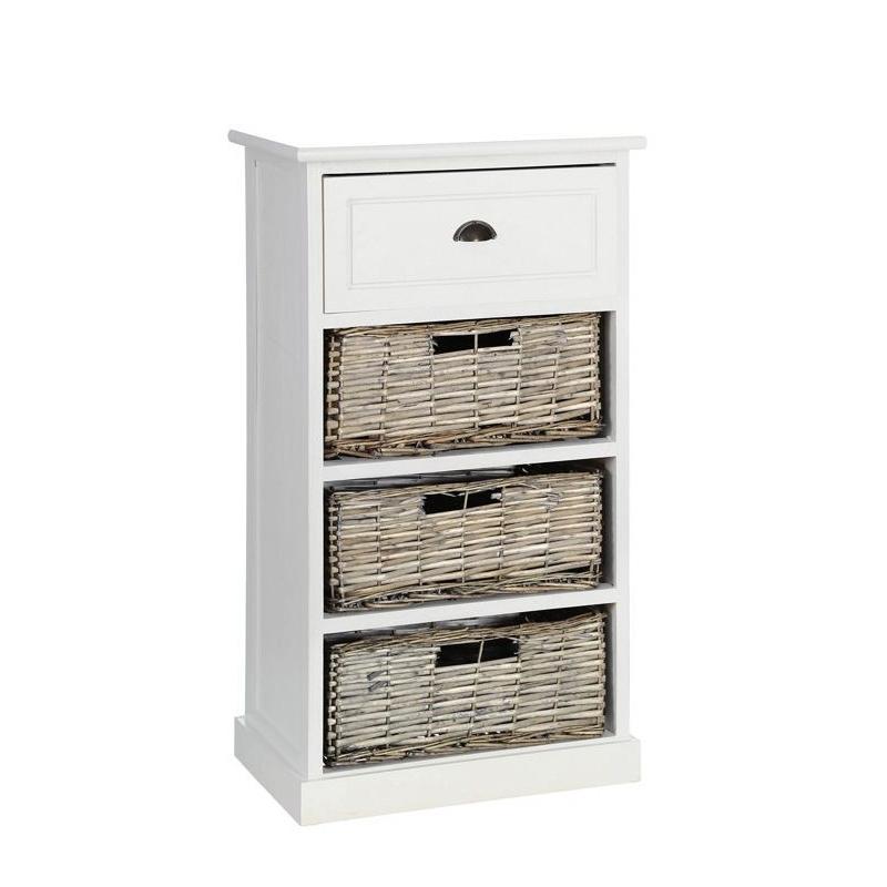 Mueble auxiliar 4 cajones blanco-natural 40 x 29 x 73 cm .| Dcasa.es