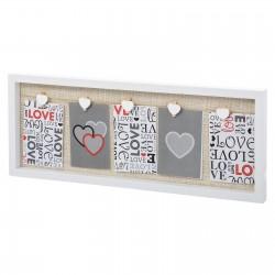 Portafotos con pinzas corazon romantico blanco lino-mdf 72,20 x 3 x 24,20 cm .