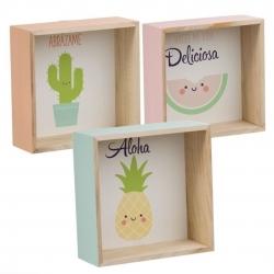 Juego 3 estante de madera diseño Infantil con frase .