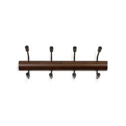 Perchero de pared de estilo pogo 4 gancho, negro/madera de nogal