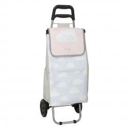 Carro de compra infantil nubes con rueda plegable azul .
