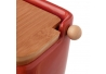 "Azucarero rojo ""stoneware"" 8 x 10,50 x 8 cm con tapa de bambú."
