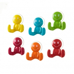 "Pack de 6 Perchas ventosa ""smile"" colores poliestireno"