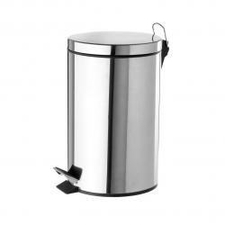Papelera de 5 litros clásica plateada de acero para baño Basic .