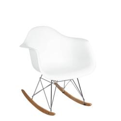 Mecedora de diseño minimalista blanca de polipropileno para salón Vitta