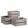 Set de 3 cajas multiusos originales grises de madera para salón Factory