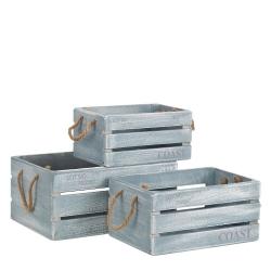 Set 3 cajas juguetero nórdicas azules de madera para dormitorio Vitta