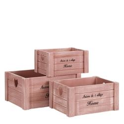 Set 3 cajas juguetero románticas rosas de madera para dormitorio France