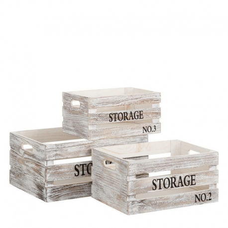 Set 3 cajas multiusos rústicas blancas de madera para decoración Fantasy