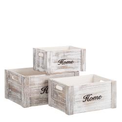 Set 3 Cajas multiusos románticas blancas de madera para salón France