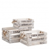 Set 3 Cajas multiusos nórdicas blancas de madera para salón Fantasy