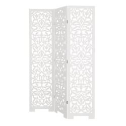 Biombo de diseño provenzal blanco de madera para salón Fantasy
