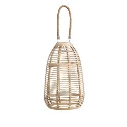 Farol portavelas oriental beige de bambú para decoración Sol Naciente