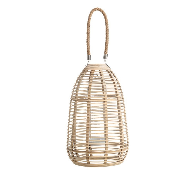 Farol portavelas oriental beige de bamb para decoraci n - Portavelas grandes ...
