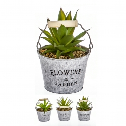 Pack 3 Cactus artificial en maceta metal .